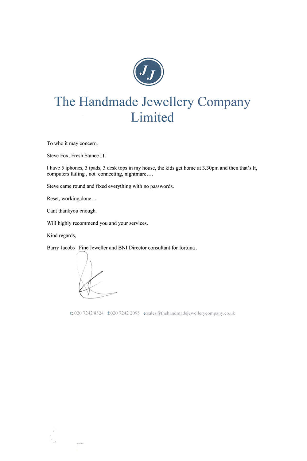 Cloud Solutions Handmade Jewellery Co Testimonial Fresh Stance IT