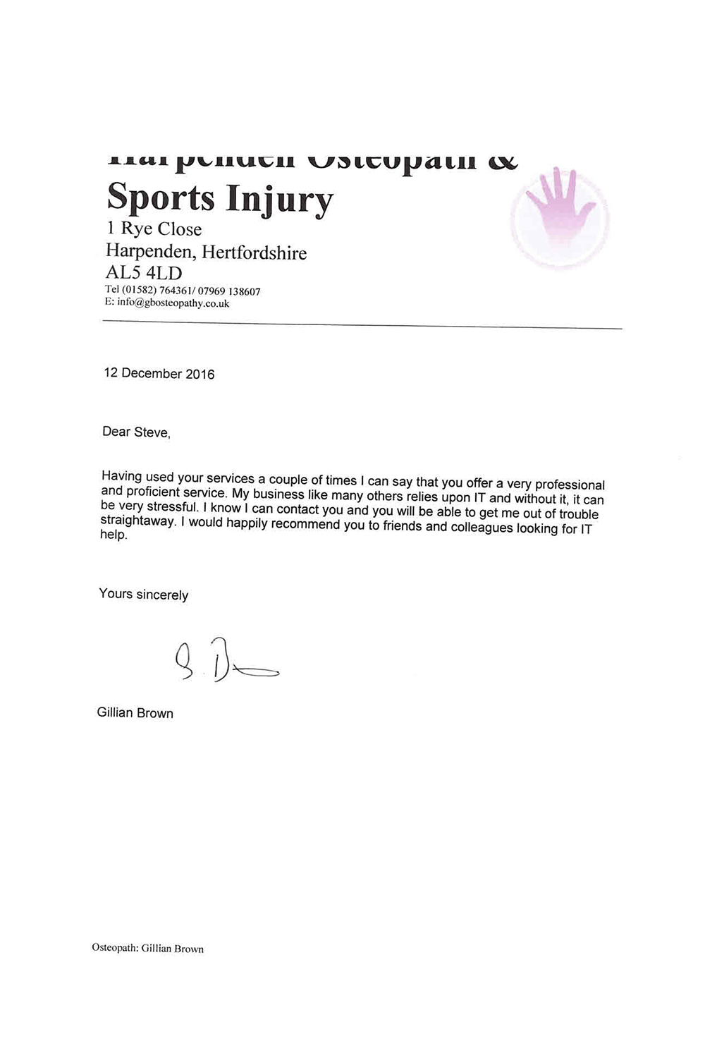 Cloud Solutions Harpenden Sports N Spinal Testimonial