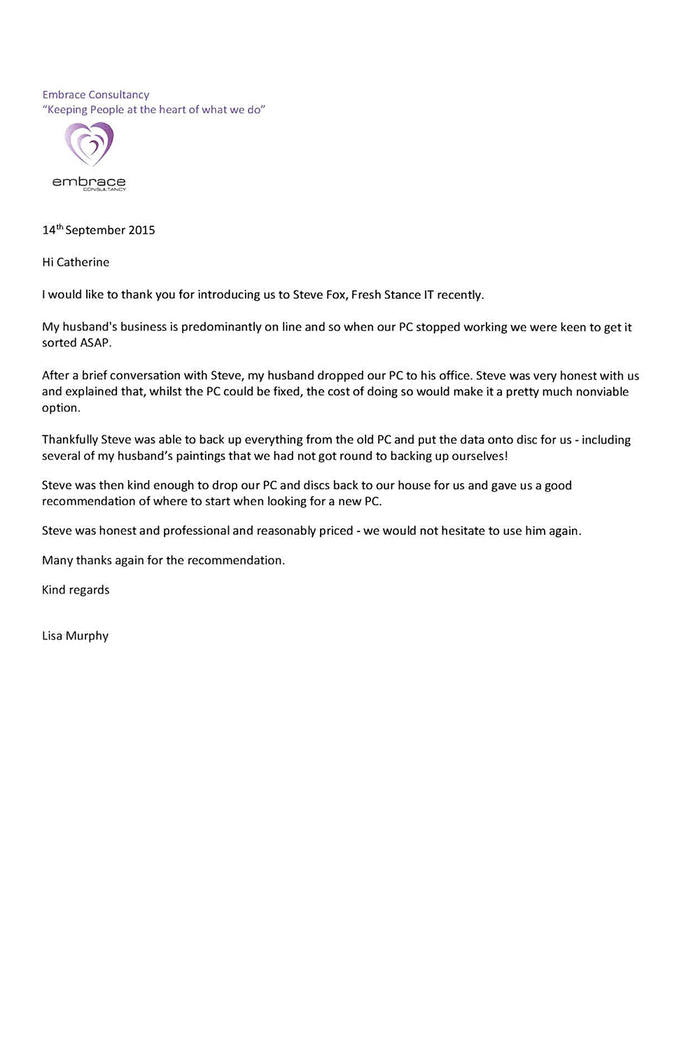 PC Maintenance Embrace Consultancy Testimonial